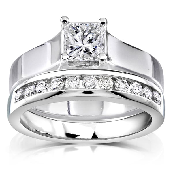 Annello 14k White Gold 7/8ct TDW Diamond Bridal Ring Set (H-I, SI1-SI2)
