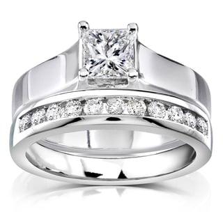 Annello 14k White Gold 7/8ct TDW Diamond Bridal Ring Set (H-I, SI1-SI2) with Bonus Item