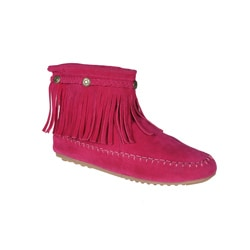 Refresh by Beston Women?s 'Mini-01' Fuchsia Fringe Ankle Booties