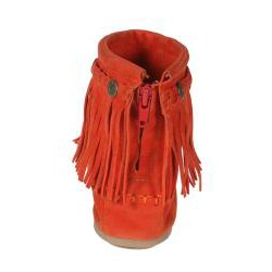 Refresh by Beston Women?s 'Mini-01' Orange Fringe Ankle Booties