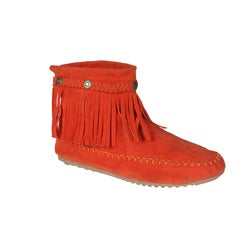 Refresh by Beston Womens 'Mini-01' Orange Fringe Ankle Booties