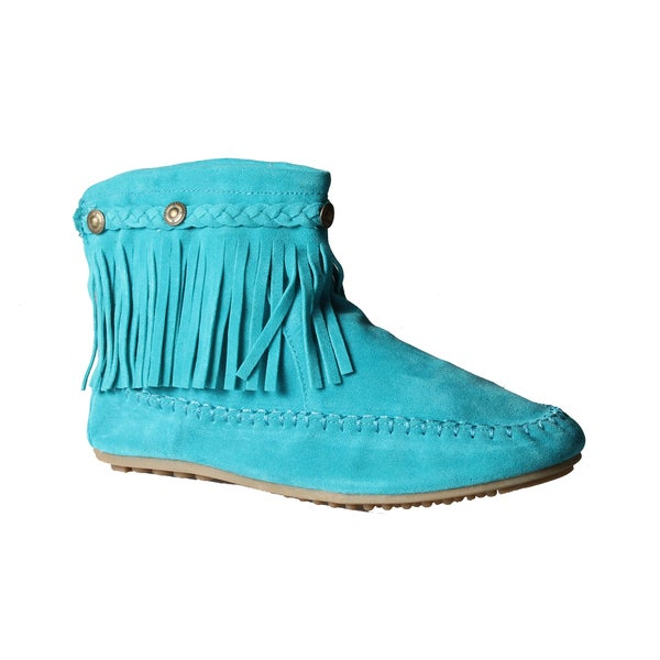 Refresh by Beston Women's 'Mini-01' Teal Fringe Ankle Booties
