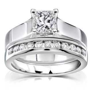 Annello 14k White Gold 1ct TDW Diamond Bridal Ring Set (H-I, SI1-SI2)