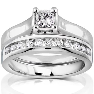 Annello 14k White Gold 5/8ct TDW Diamond Bridal Ring Set (H-I, I1-I2) with Bonus Item