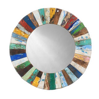 Round Wood Mosaic Mirror