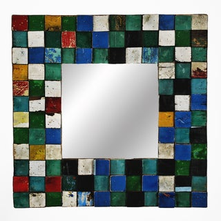 Square Wood-framed Mirror with Multicolored Mosaic Design
