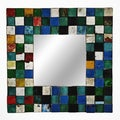 Ecologica Square Wood-framed Mirror with Multicolored Mosaic Design