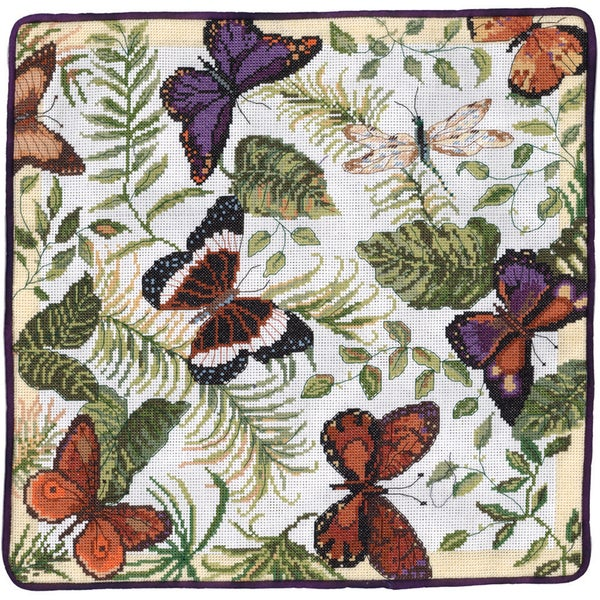 "Butterflies Galore Counted Cross Stitch Kit-14""X14"" 14 Count"