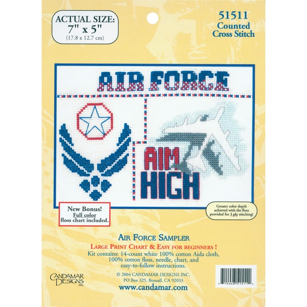 "Air Force Sampler Mini Counted Cross Stitch Kit-7""X5"" 14 Count"