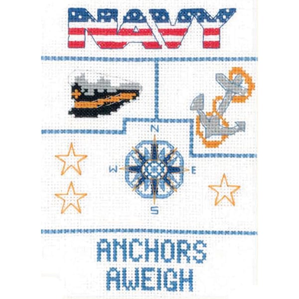 "Navy Sampler Mini Counted Cross Stitch Kit-5""X7"" 14 Count"