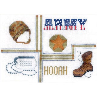 """Army Sampler Mini Counted Cross Stitch Kit-7""""X5"""" 14 Count"""