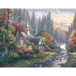 Thomas Kinkade Forest Chapel Counted Cross Stitch Kit