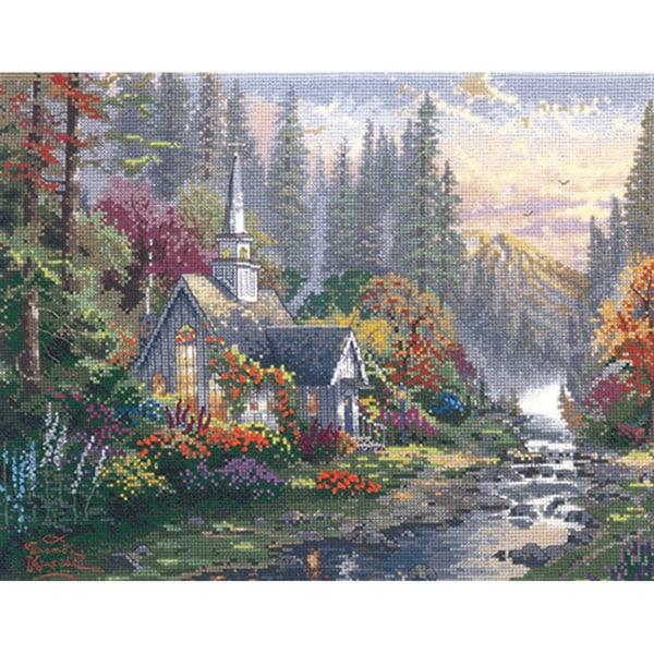 Thomas Kinkade Forest Chapel Counted Cross Stitch Kit