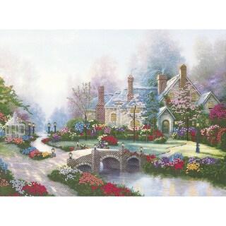 Thomas Kinkade Beyond Spring Gate Embellished Cross Stitch