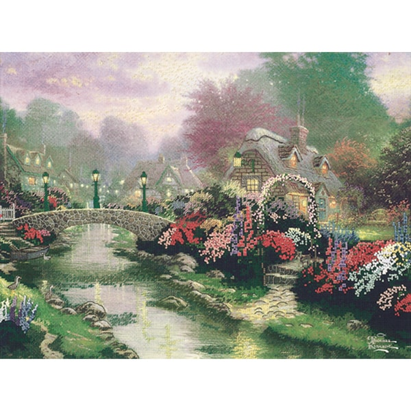 Thomas Kinkade Lamplight Bridge Embellished Cross Stitch Kit