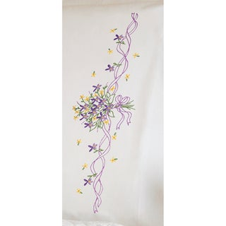 """Violets Nosegay Pillowcase Pair Stamped Embroidery-20""""X30"""""""