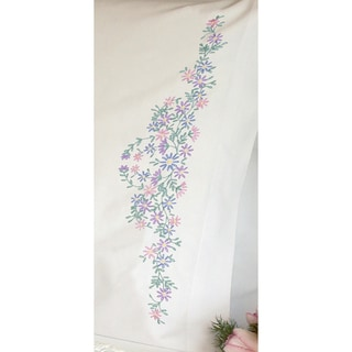 """Wildflowers Pillowcase Pair Stamped Embroidery-20""""X30"""""""