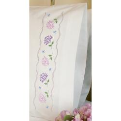 Hydrangeas Pillowcase Pair Stamped Embroidery-20