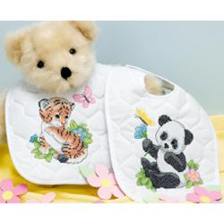 "Baby Hugs Baby Animals Bibs Stamped Cross Stitch Kit-9""X14"" Set Of 2"