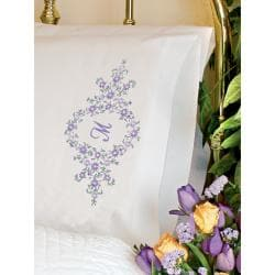 "Daisy Monogram Pillowcase Pair Stamped Embroidery -20""X30"""