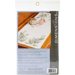Butterflies and Fern Dresser 14 x 37 Scarf Stamped Cross Stitch
