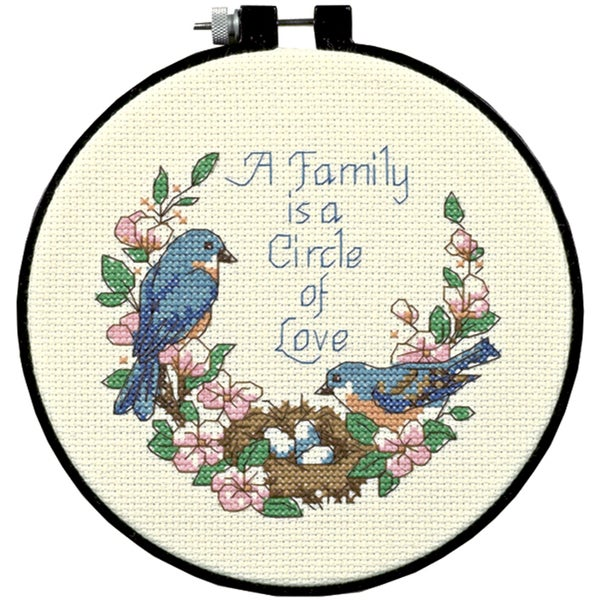 "Learn-A-Craft Family Love Counted Cross Stitch Kit-6"" Round"