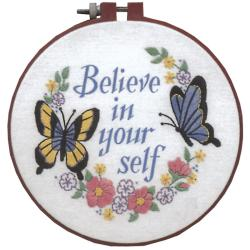"Learn-A-Craft Believe In Yourself Crewel Embroidery Kit-6"" Round"