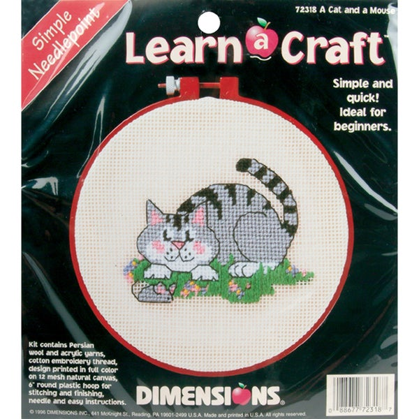 "Learn-A-Craft A Cat And A Mouse Needlepoint Kit-6"" Round"