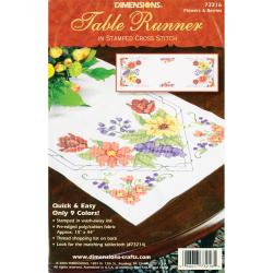 "Flowers & Berries Table Runner Stamped Cross Stitch-15""X44"""