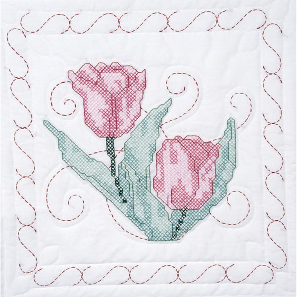 "Stamped Quilt Blocks 18""X18"" 6/Pkg-Tulips"