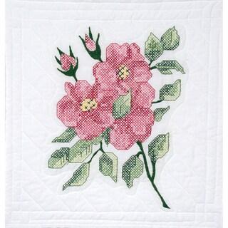 "Stamped Quilt Blocks 18""X18"" 6/Pkg-Red Roses"
