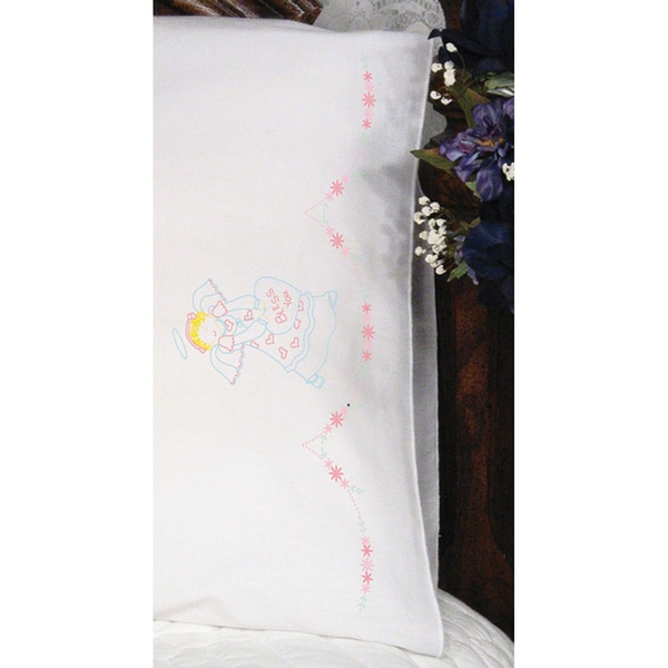 Stamped Perle Edge Pillowcase 2/Pkg-Bless You Angel