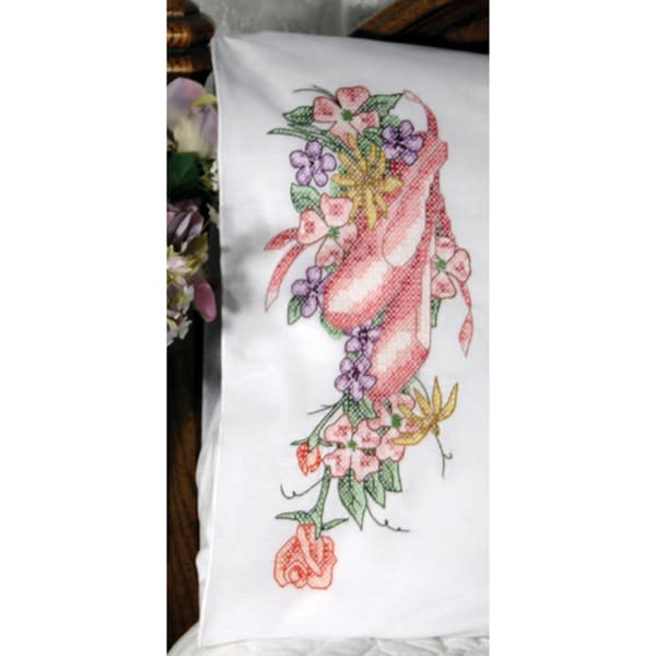 Stamped Perle Edge Pillowcase 2/Pkg-Ballet Shoes