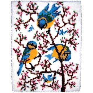 """Latch Hook Kit 27""""X33""""-Springtime Bluebirds"""