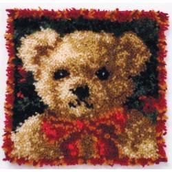 """Latch Hook Kit 12""""X12""""-Girl Bear Pillow"""