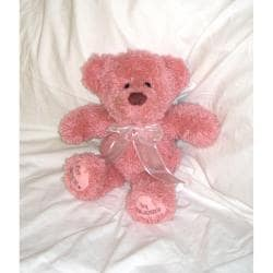 "Huggables Pink Teddy Stuffed Toy Latch Hook Kit-14"" Tall"
