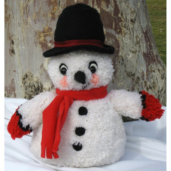 "Huggables Snowman Stuffed Toy Latch Hook Kit-16"" Tall"