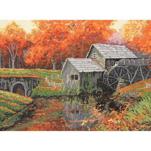The Old Mill In October Counted Cross Stitch Kit-16 Count