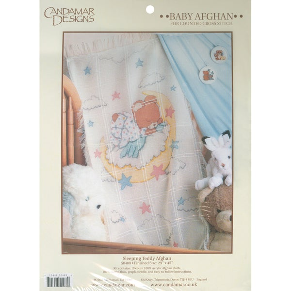 Sleeping Teddy Bear Baby Afghan Counted Cross Stitch Kit