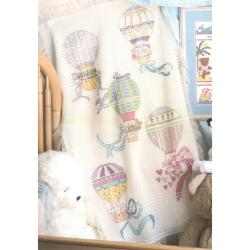 Hot Air Balloons Baby Afghan Counted Cross Stitch Kit