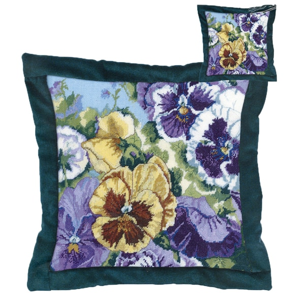 "Glorious Pansies Needlepoint Kit-14""X14"" 14 Mesh Stitched In Floss 9158524"