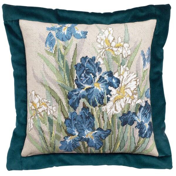 "Oriental Iris Needlepoint Kit-14""X14"" 14 Mesh Stitched In Floss"