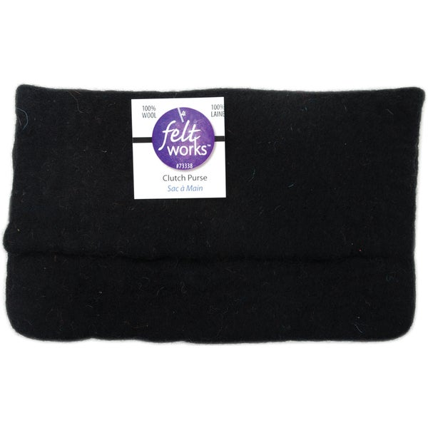 "Feltworks Clutch Purse 6-1/2""X11""X1/2""-Black"