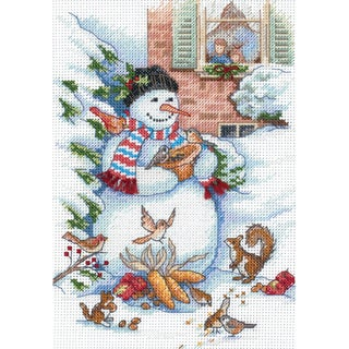"""Gold Collection Petite Snowman & Friends Counted Cross Stitc-5""""X7"""""""