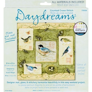 "Daydreams Birds & Swirls Counted Cross Stitch Kit-8""X8"""