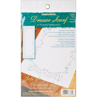 """Filigree Scroll Dresser Scarf Stamped Embroidery-14""""X39"""""""