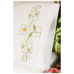"Daisies On Gingham Pillowcase Pair Stamped Cross Stitch-20""X30"""