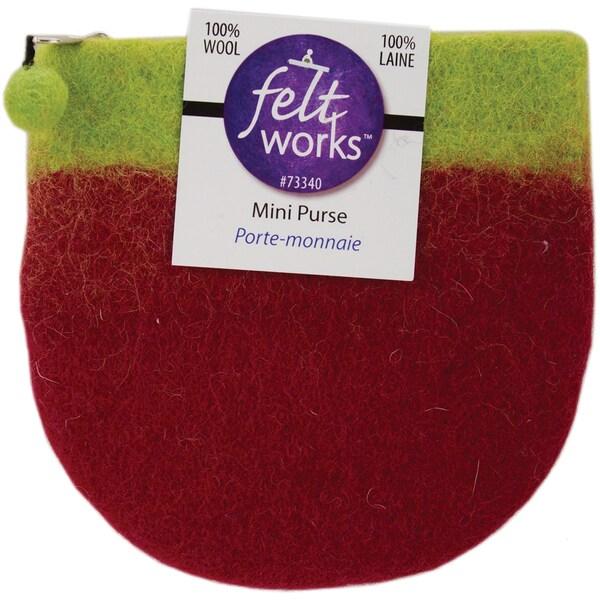 """Feltworks Mini Purse 5-1/2""""X5-1/4""""X5""""-Lime&Violet"""