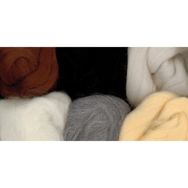 Paint Box Wools .33 Ounce 6/Pkg-Nature-Bge/Ecru/Gry/Brn/Wht/Blk