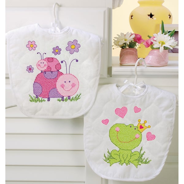"Baby Hugs Fairy Bibs Stamped Cross Stitch Kit-9""X14"" Set Of 2"